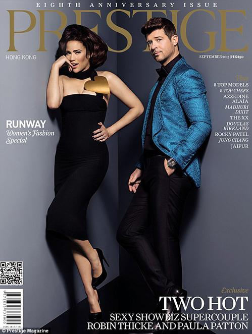 They appeared on the cover of Hong Kong Prestige magazine in 2013: Two Hot – Sexy Showbiz SuperCouple Robin Thicke & Paula Patton. The magazine also featured a photo spread and an interview.