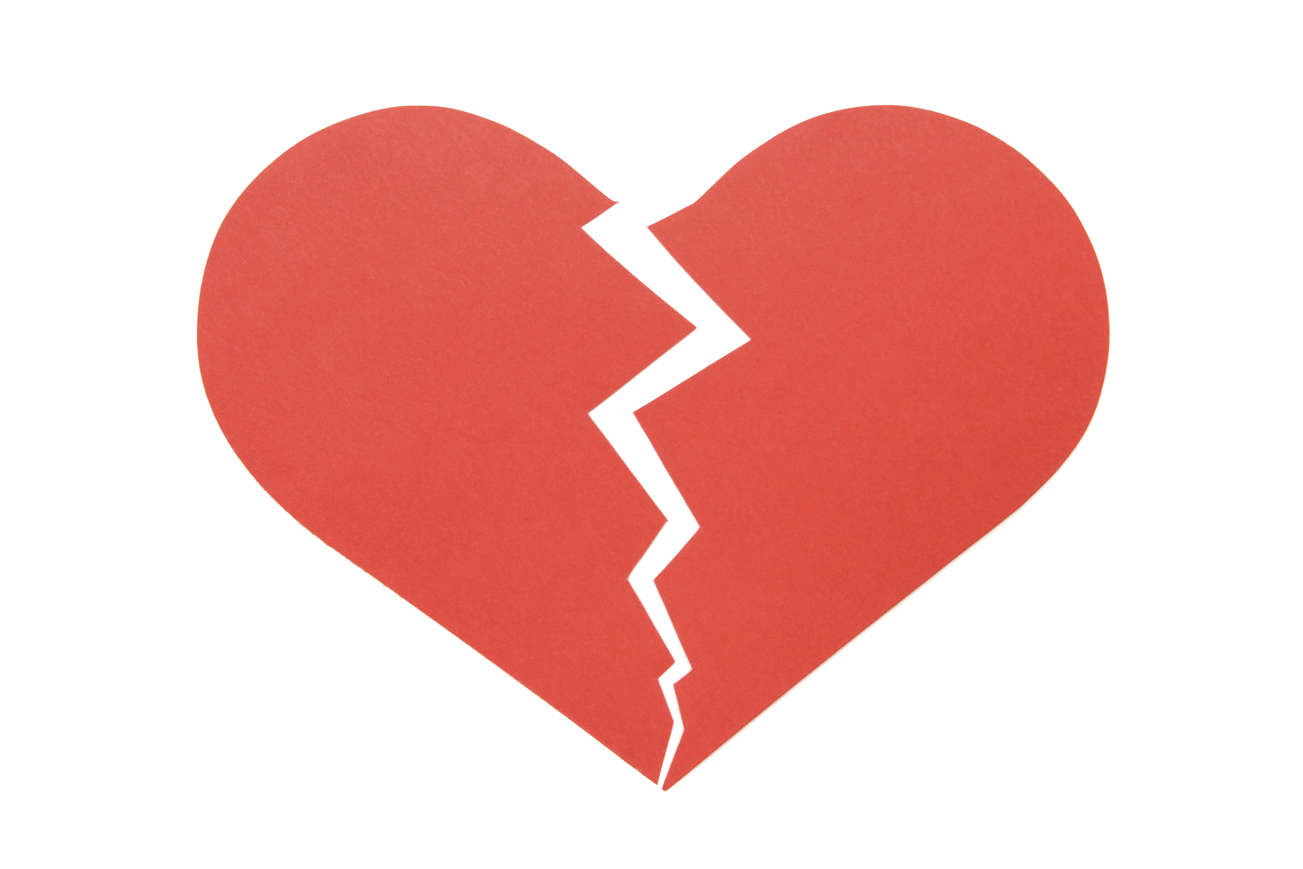An image of a heart ripped in two
