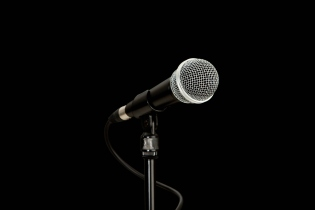 Detail of a microphone on a stand