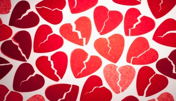 A bunch of torn tissue paper hearts