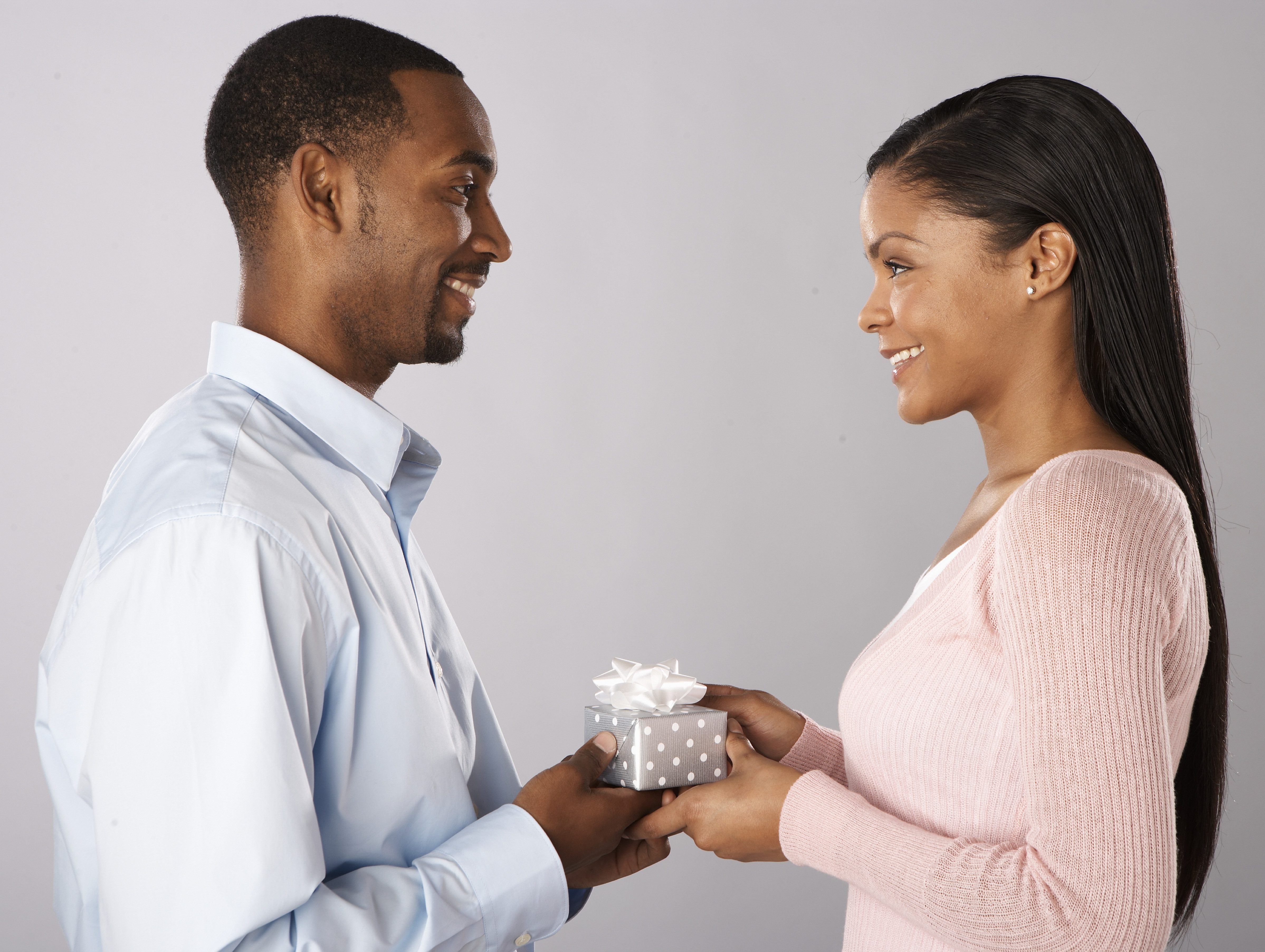 A man giving a woman a gift