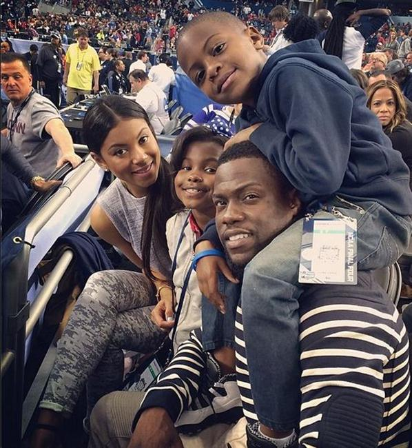 Kevin Hart, his girlfriend Eniko and Kevin's kids Heaven and Hendrix