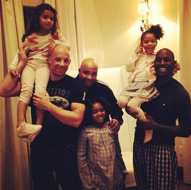 Vin Diesel, Rev Run and Tyrese with their daughters.