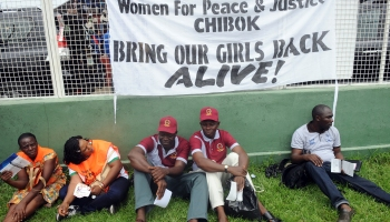 A protest over Nigerian schoolgirls being kidnapped and sold