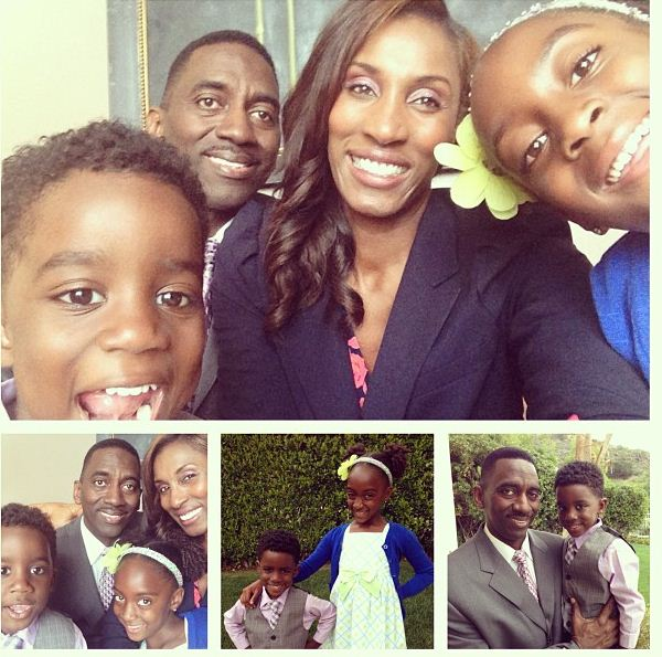 Lisa Leslie, her husband and kids