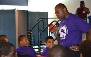 Robert Jackson speaking to students