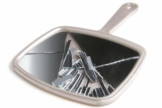 A broken hand mirror