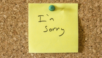 """A post it note on a cork board that says """"I'm Sorry"""""""