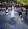 Mariah Carey with her son and daughter