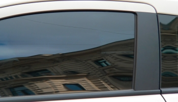 A tinted car window