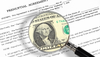 Prenuptial agreement, magnifying glass and dollar note