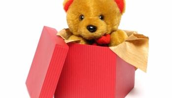 A teddy bear inside of a red box