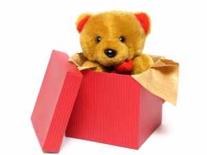 A teddy bear inside of a red box