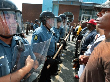 Police and protestors come face to face in Ferguson.
