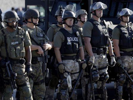 Riot police on the scene in Ferguson, Missouri.
