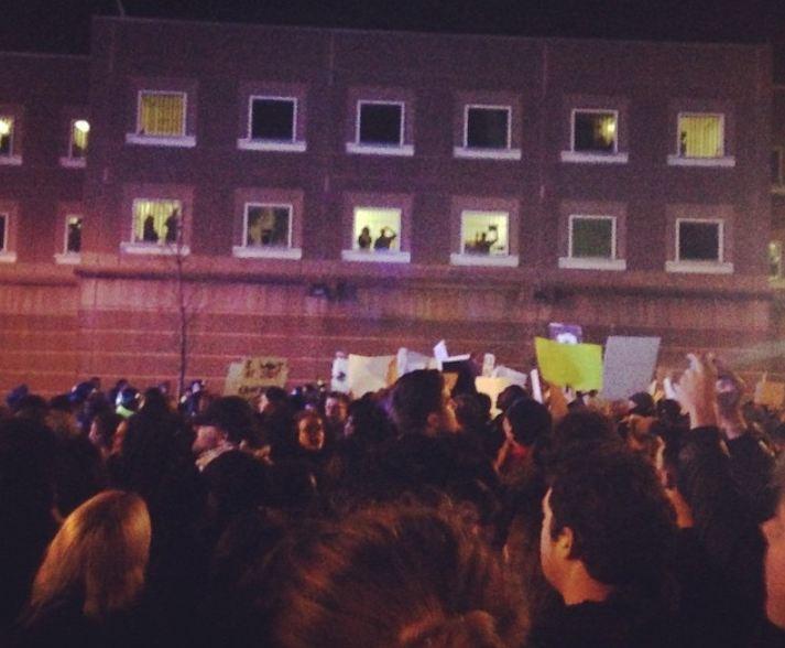 Citizens protest the Ferguson Decision in Boston, Massachusetts.
