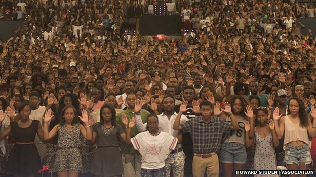 Howard University students stand in solidarity with Ferguson, Missouri.