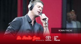 Robin Thicke performs in the Red Velvet Cake Studios.