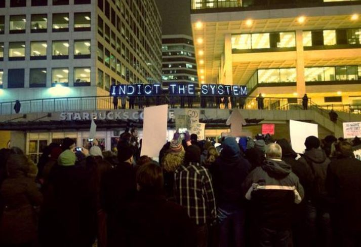 Citizens protest the Ferguson Decision in Milwaukee, Wisconsin.