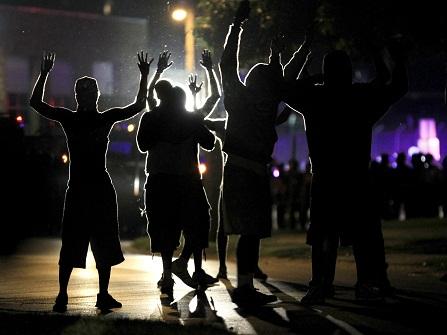 Protesters in Ferguson, Missouri.