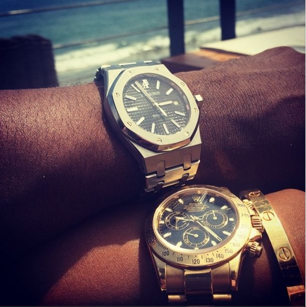 Ray J and his girlfriend show off their custom Rolex's