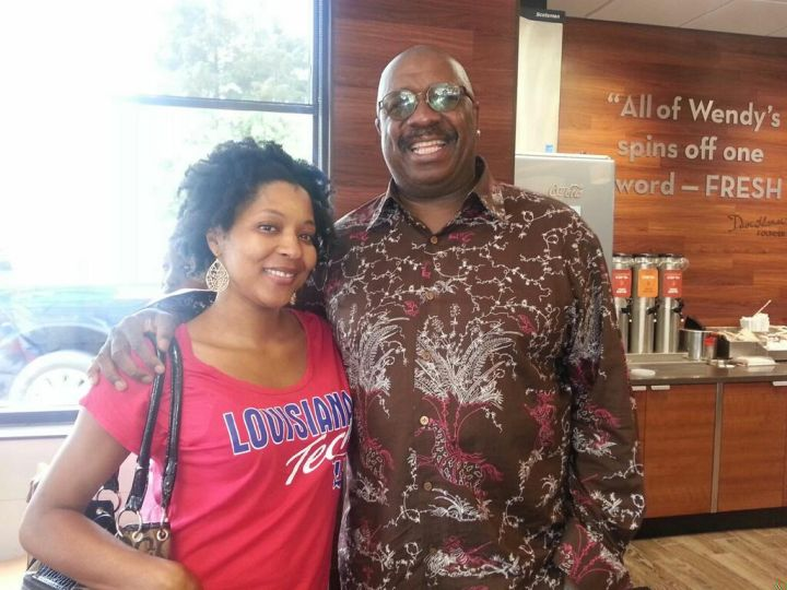 J. Anthony Brown and a listener at a Wendy's in New Orleans