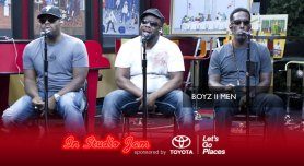 Boyz II Men perform in the Red Velvet Cake Studios.