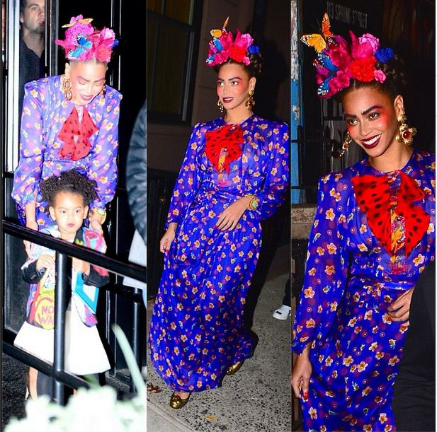 Beyonce as Frida Kahlo and Blue as baby Basquiat