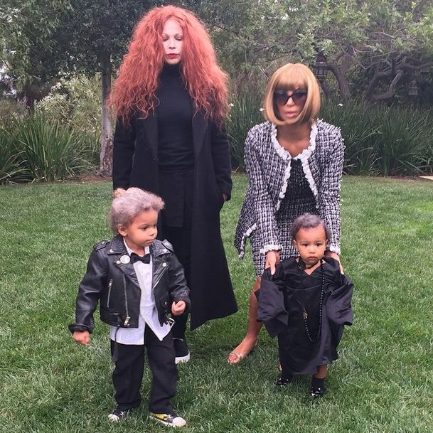 Kim Kardashian, North West and friend as Anna Wintour, Grace Coddington, Karl Lagerfield and Andre Leon Talley