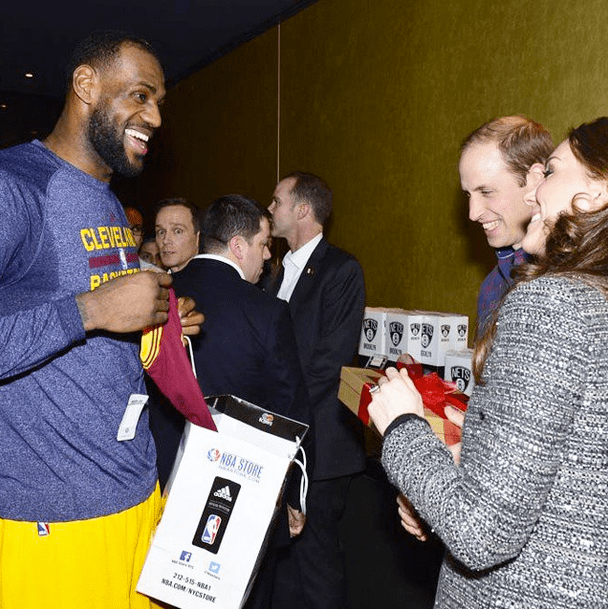 Lebron James with Kate Middleton and Prince William