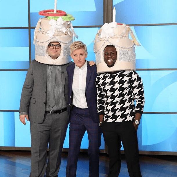 Kevin Hart, Ellen DeGeneres and Josh Gad