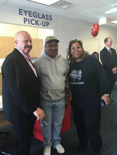 Tom Joyner and Sybil Wilkes at America's Best Grand Opening in the Westheimer Commons in Houston, TX.