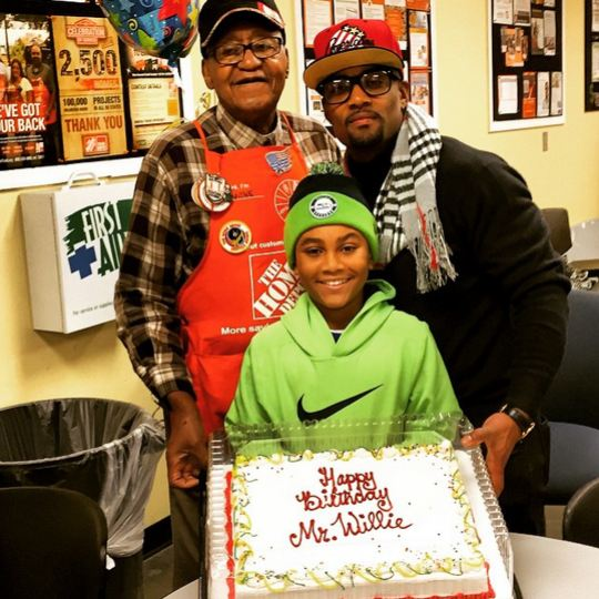 Willie Moore with his dad and son Khalil