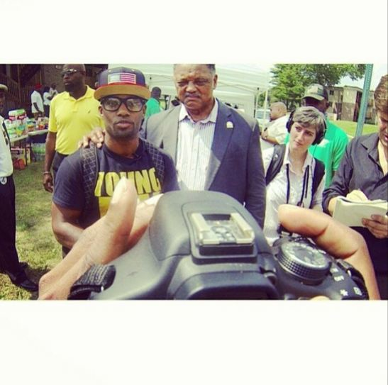Willie and Rev. Jesse Jackson standing for justice in Ferguson