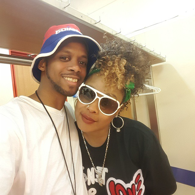 DaBrat hangs out with a cameraman friend.
