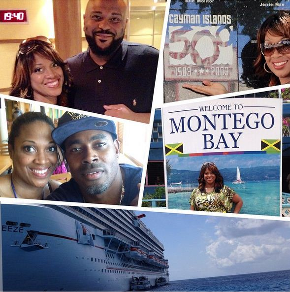 Ruben Studdard and Laman Rucker pose with fans in Jamaica