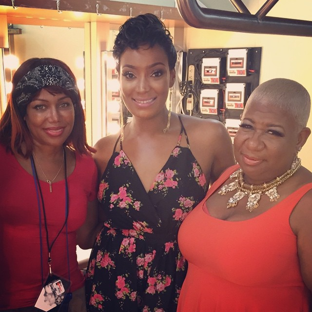 Michel'le, Lunell and a fan flick it up.