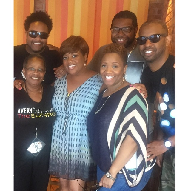 Sherri Shepherd, singer Avery Sunshine and celebrity journalist Jawn Murray hang out with friends.