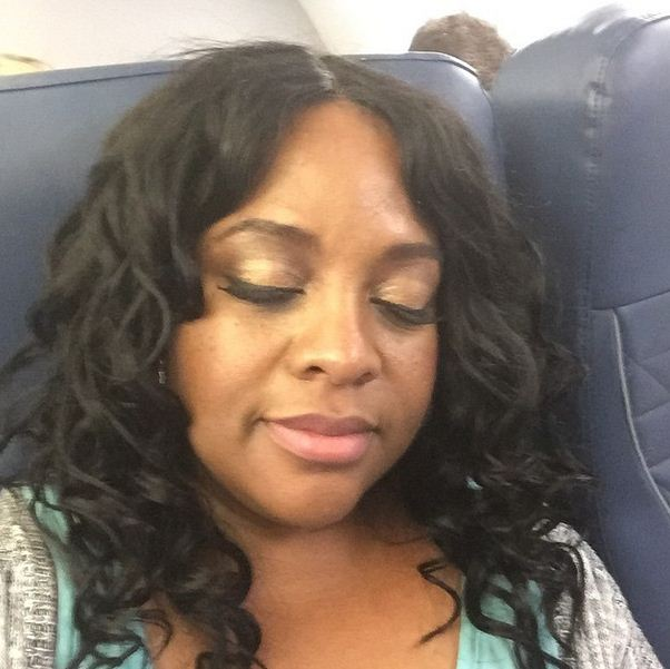 Sherri Shepherd snaps a quick photo on the plane. She's on her way to Jamaica!