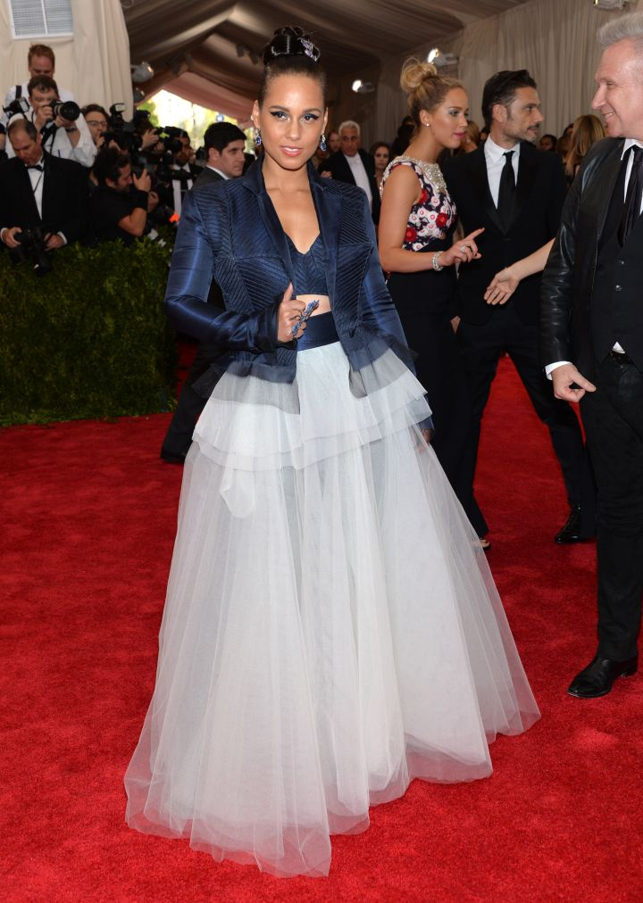 Alicia Keys steps up her red carpet look in Jean Paul Gaultier.