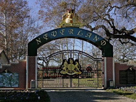 FILE - This Dec. 2004 file photo shows, the entrance to pop star Michael Jackson's Neverland Ranch in Santa Ynez, Calif. Neverland is going up for sale. The Santa Ynez Valley property that once served as the late pop star's home and personal fantasyland is being listed for sale at $100 million, according to the Wall Street Journal on Thursday, May 28, 2015. (AP Photo/Mark J. Terrill, File)