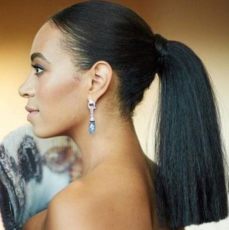 Solange ditched her signature fro for a sleep ponytail.