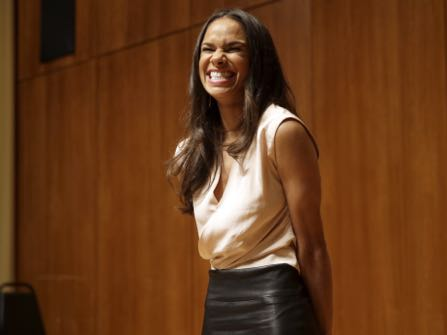 Misty Copeland speaks during a news conference, Tuesday, June 30, 2015, in New York. The Missouri-born dancer who has become a forceful voice for diversity in ballet and a rare celebrity in that field, was named principal dancer at American Ballet Theatre on Tuesday — the first African-American ballerina to achieve that status in the company's 75-year history. (AP Photo/Mary Altaffer)