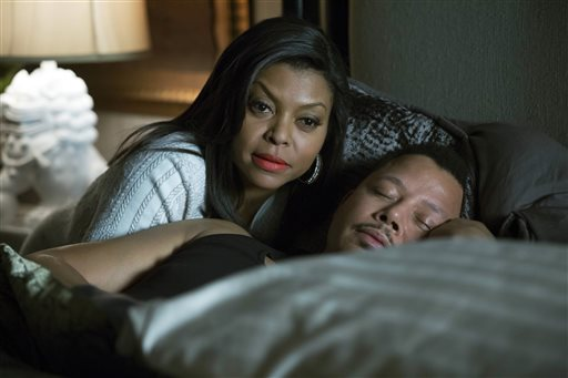"""This photo provided by Fox shows,Taraji P. Henson, left, as Cookie, and Terrence Howard, right, as Lucious, in the special two-hour """"Die But Once/Who I Am"""" season finale episode of """"Empire."""" """"Empire"""" and """"Mad Men"""" are among the leading contenders for the 67th Emmy Award nominations, to be announced 11:30 a.m. EDT Thursday, July 16, 2015, in West Hollywood, Calif. The Los Angeles ceremony will air Sept. 20 on Fox with host Andy Samberg. (Chuck Hodes/Fox via AP)"""