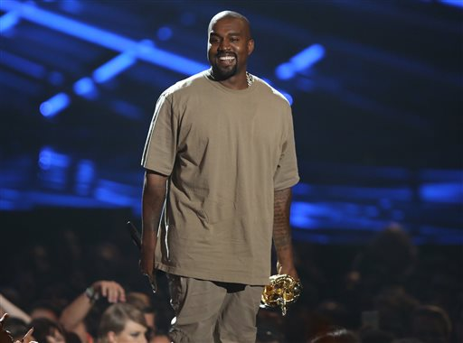 Kanye West on stage to receive the Michael Jackson Video Vanguard Award.