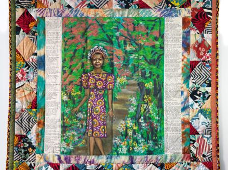 "In this undated photo provided by Swann Auction Galleries, a 1989 acrylic on canvas with pieced fabric border by Faith Ringgold entitled ""Maya's Quilt of Life"" i shown. The work was included in the collection of celebrated writer and civil rights activist Maya Angelou that sold for $1.3 million by Swann in New York on Tuesday, Sept. 15, 2015. (Swann Auction Galleries via AP)"