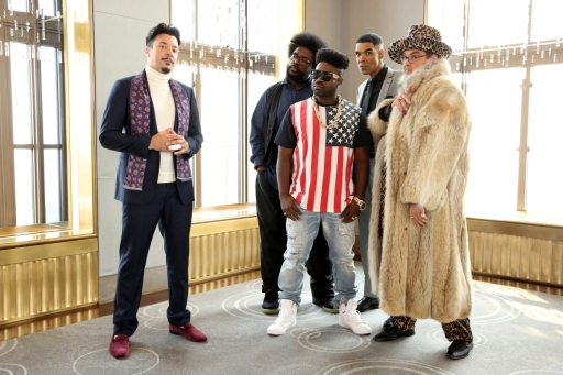 """THE TONIGHT SHOW STARRING JIMMY FALLON -- Episode 0334 -- Pictured: (l-r) Jimmy Fallon, Ahmir """"Questlove"""" Thompson, Tariq ?Black Thought? Trotter, Dion Flynn, and Steve Higgins during the """"Jimpire"""" skit on September 22, 2015 -- (Photo by: Douglas Gorenstein/NBC)"""