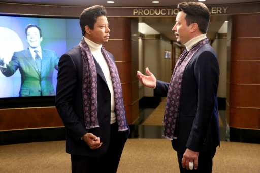 """THE TONIGHT SHOW STARRING JIMMY FALLON -- Episode 0334 -- Pictured: (l-r) Terrence Howard and Jimmy Fallon during the """"Jimpire"""" skit on September 22, 2015 -- (Photo by: Douglas Gorenstein/NBC)"""