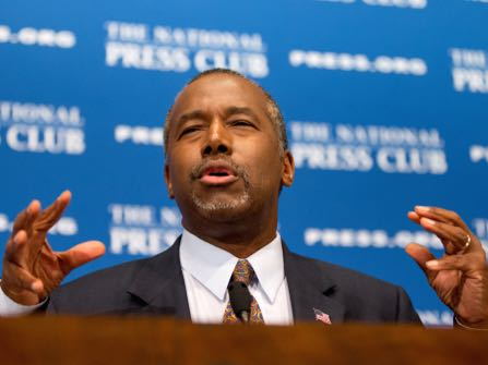 FILE - In this Oct. 9, 2015 file photo, Republican presidential candidate Dr. Ben Carson speaks at the National Press Club in Washington. The U.S. Secret Service says the top two GOP presidential hopefuls have requested protection from the taxpayer-funded agency. The agency says billionaire real estate developer Donald Trump and retired neurosurgeon Ben Carson have requested Secret Service protection. But they would not receive it until Homeland Security Secretary Jeh Johnson consults with five senior members of Congress. (AP Photo/Andrew Harnik, File)