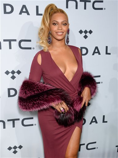 Beyonce Knowles arrives at TIDAL X: 1020 Amplified by HTC at the Barclays Center on Tuesday, Oct. 20, 2015, in New York. (Photo by Evan Agostini/Invision/AP)